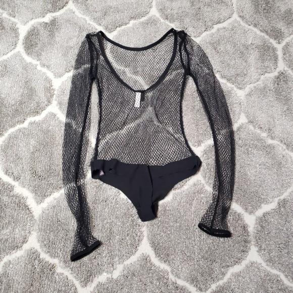 16402738051 Victoria s Secret Fishnet Long Sleeve Bodysuit NEW